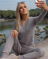 Winter Casual Hooded Sweater 2 Piece Sets Tops with Ruffled Cuff Zipper Knittedwear Knitting Tracksuits