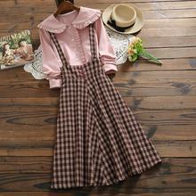 Комплект из 2 предметов, женское платье, весна и осень, новинка, женская рубашка с кукольным воротником и длинными рукавами, клетчатые платья, японский стиль