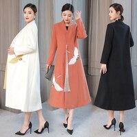 2019 осень и зима новый китайский народный стиль ветер кран вышивка шерсть длинный абзац выше колена шерстяное пальто шерстяное