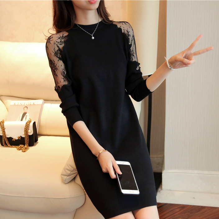Fashion 2019 Women Autumn Winter Sweater Dresses Slim O neck Sexy Lace Patchwork Bodycon Solid Color Robe Knitted Dress