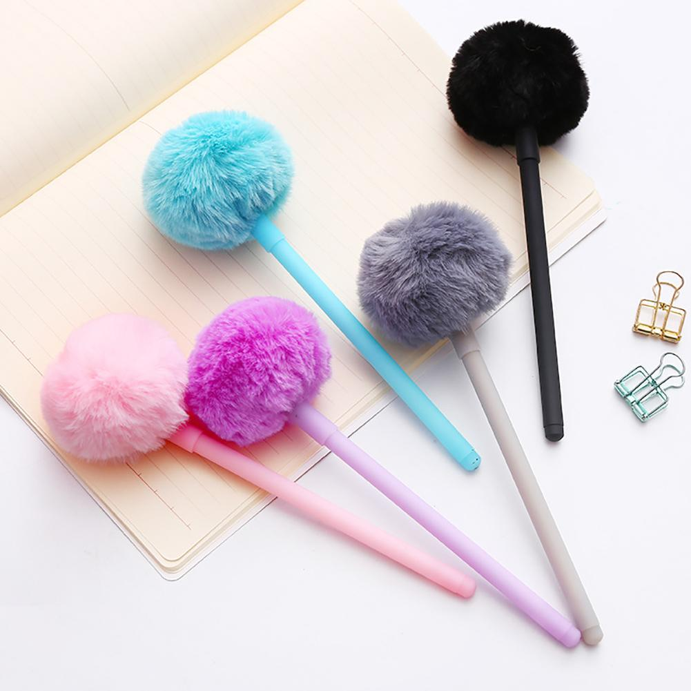 New 0.5mm Cute Gel Pen Fluffy Ball Hairball Gel Pen Student School Office Supplies Drawing Writing Stationery