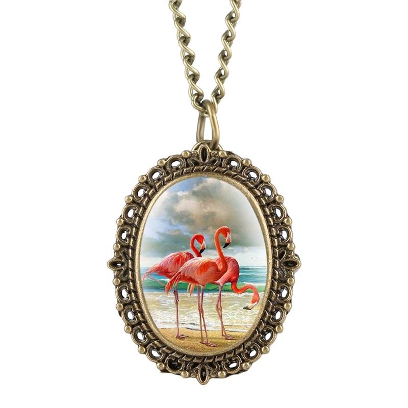 Creative Oval Jewelry Flamingo Necklace For Women Little Cute Bird Animal Enamel Charming Pendant Metal Necklace Pocket Watch