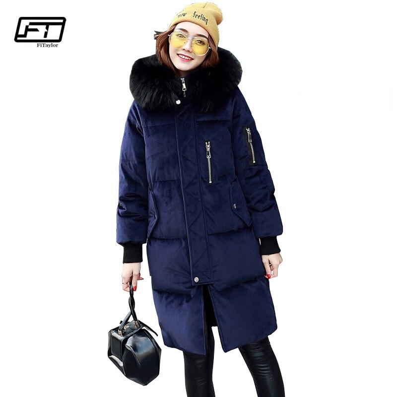 Fitaylor Winter Velvet Hooded Padded Coat Women Duck Down Parkas Large Fur Collar Warm Overcoat Medium Long Jackets Snow Outwear Beautiful In Colour