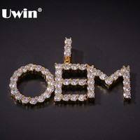 UWIN маленький размер Теннисный пузырь кулон из букв A-Z на заказ буквы имя Iced кубический цирконий мода ожерелья в стиле хип-хоп для мужчин