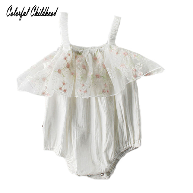 3e2a48d8025a Gold star embroidery suspender jumpsuit newborn baby girls lace romper  infant kids costumes summer toddler clothing