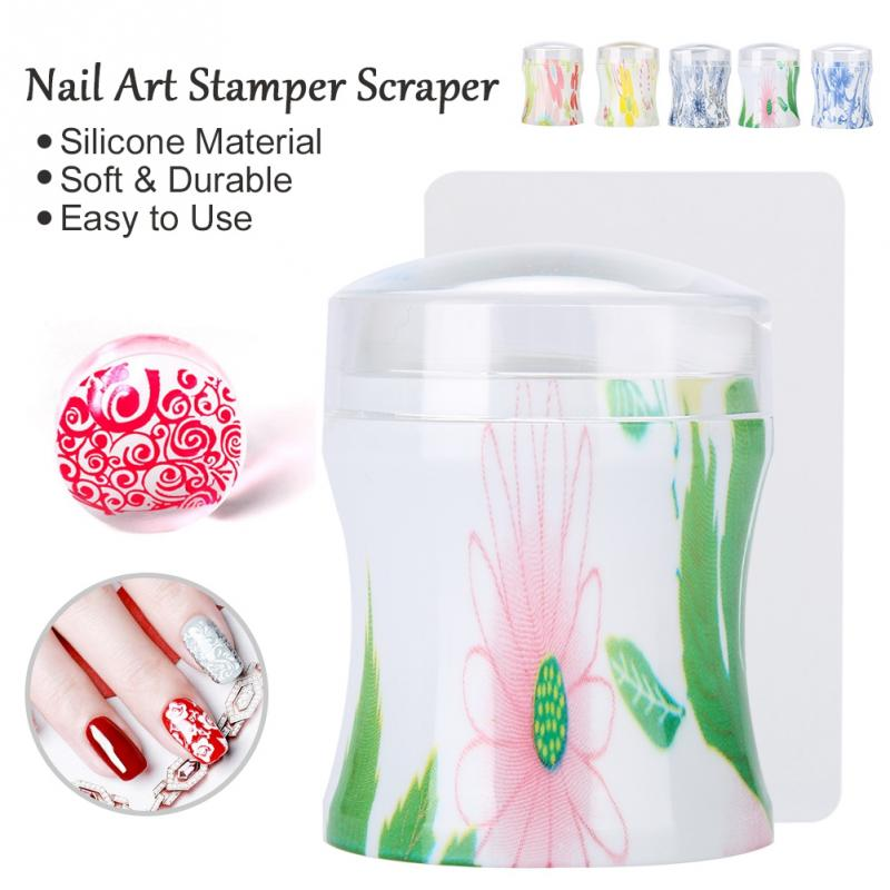 5 Colors Silicone Jelly Nail Art Polish Transfer Stamper