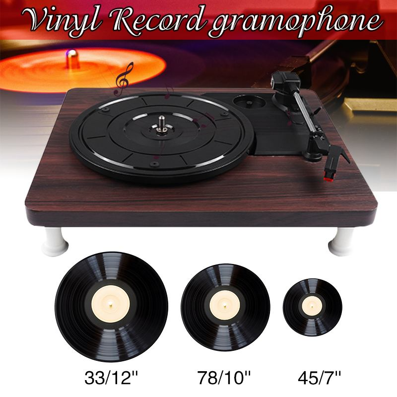 33 45 78 RPM LP Record Player Antique Gramophone Turntable Disc Vinyl Audio RCA R/L 3.5mm Output Out USB DC 5V Wood Color