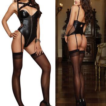 Sexy Leather Underwear Black Latex Rivet Lingerie