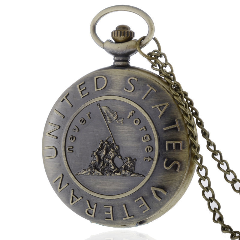 Never Forget US VETERAN Theme Full Hunter Quartz Engraved Fob Retro Pendant Pocket Watch Chain Gift