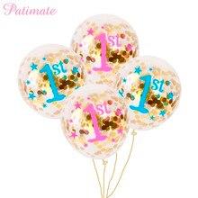PATIMATE 1st Birthday Boy Blue ballons Children Happy Letter Balloons 12inch Confetti BabyShower Girl Decor