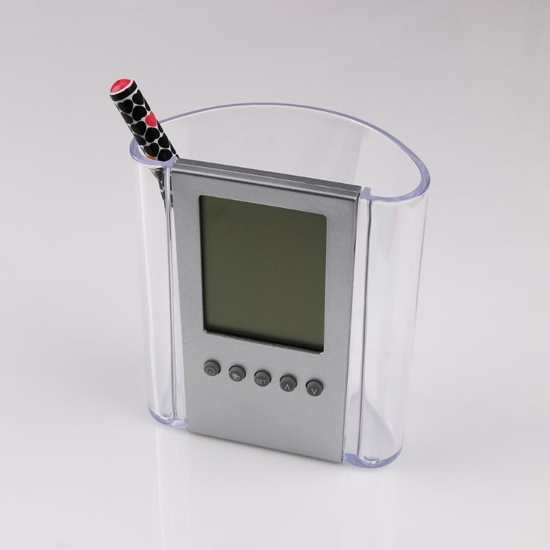 Transparent Electronic Pen Holder Container Lcd Digital Alarm Clock Desk Pencil Holder Organizer Thermometer Calendar For Fami in Pen Holders from Office School Supplies