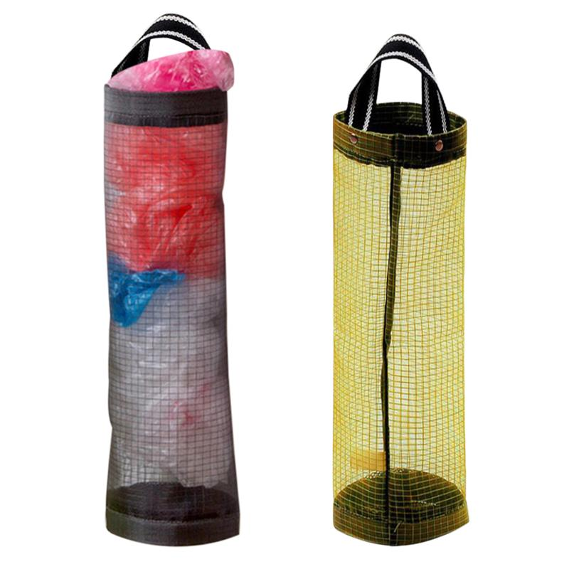 2 Pcs Wall Mount Grocery Bag Holder Storage Dispenser Plastic Kitchen Organizer Novel Hanging Garbage Bag (Mixed Color)