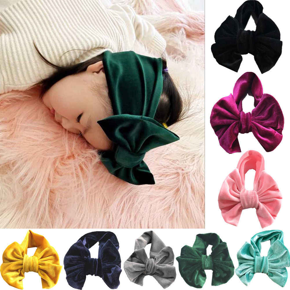 ... Toddle Kids Baby Girl Gold Velvet Headband Fashion Solid Cloth Bow  Turban Knot Head Wrap Hairband ... ce749818afe