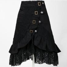 Fashion Lace Punk Rock Gothic Skirt Women Black Irregular Lotus Leaves Personality Large Size Loose Casual Party Daily