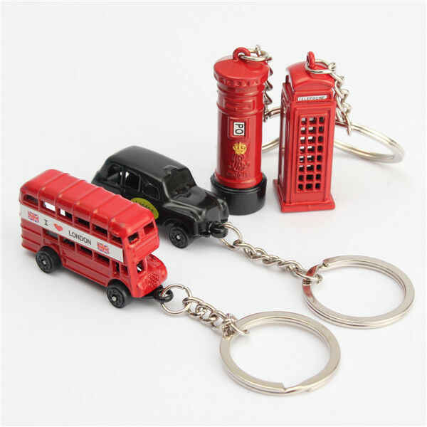 Lovely British Miniature London Model Key Ring Keychain Souvenir Red Bus Taxi Popular Classic Anniversary new style
