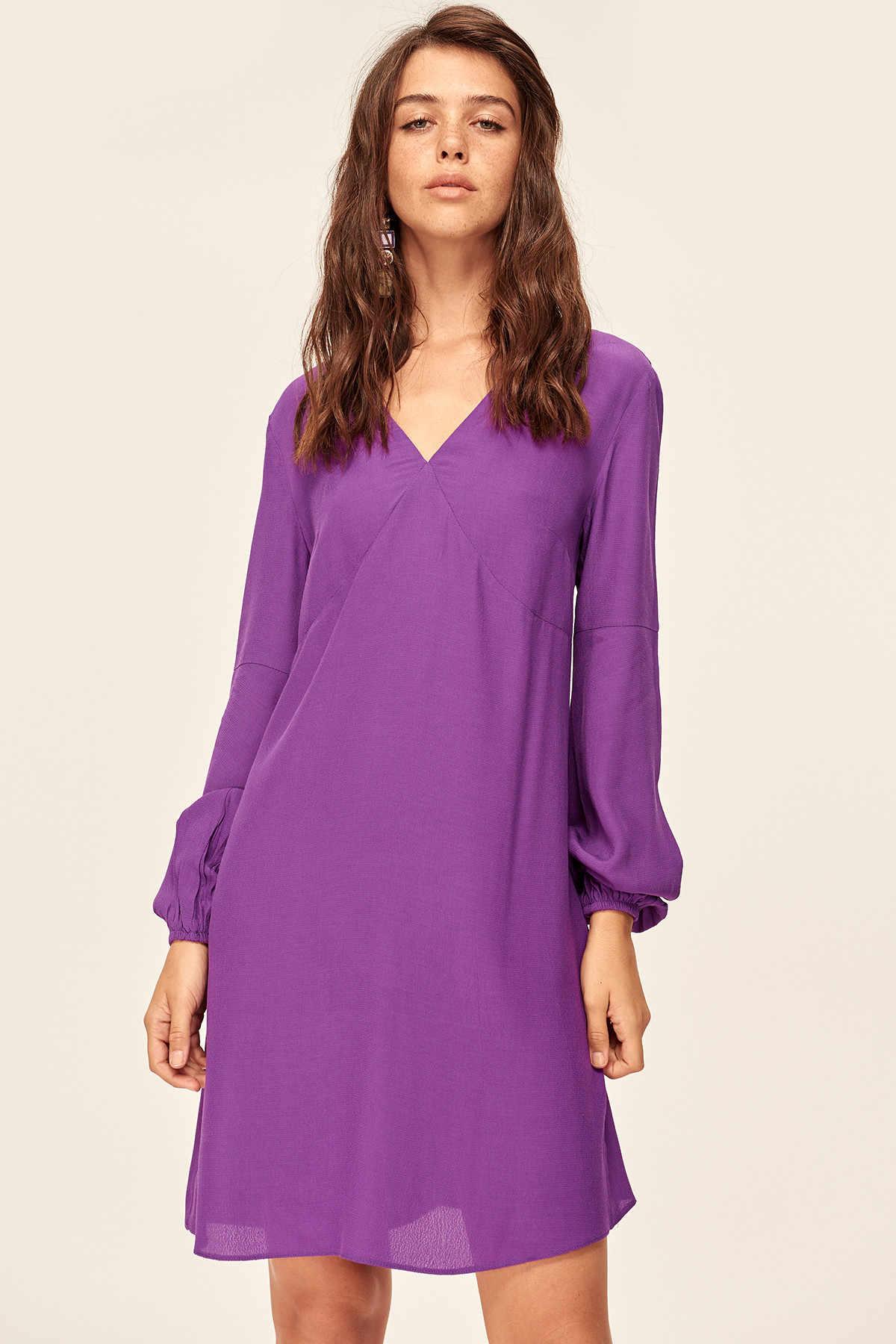 4dd56442af Trendyol New Purple V-Neck Dress TCLAW19BB0326