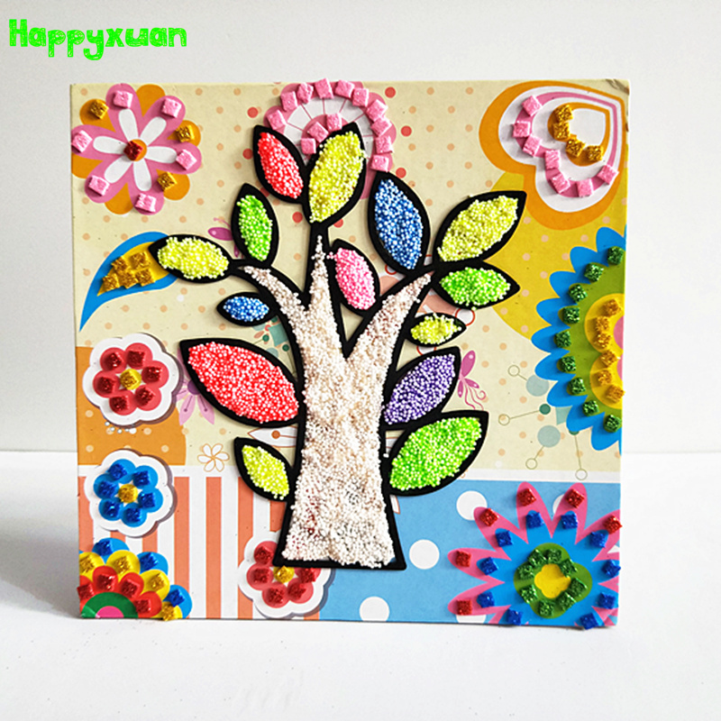 Happyxuan DIY Fluffy Foam Painting EVA Glitter Mosaic Stickers Creative Toy For Girl Kids Snowflake Mud Clay Craft Materials