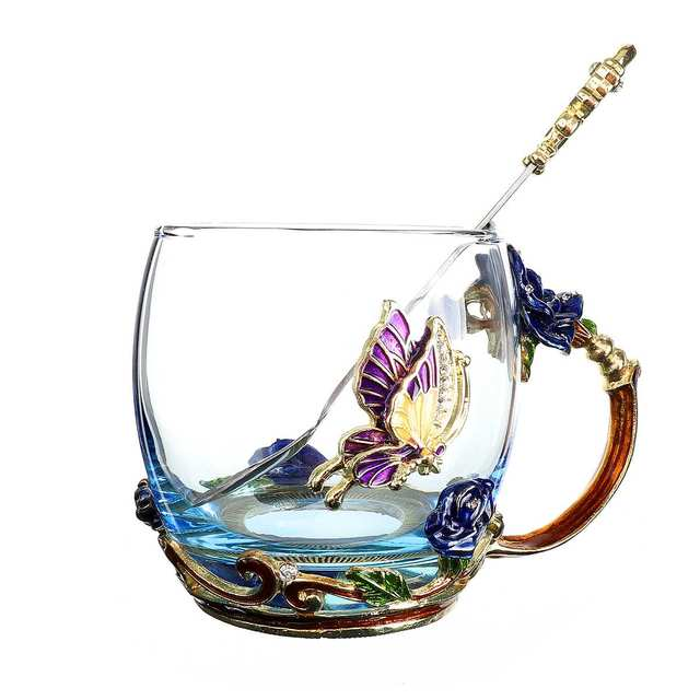 Transparent Glass Tea Mug with Stainless Steel Spoon