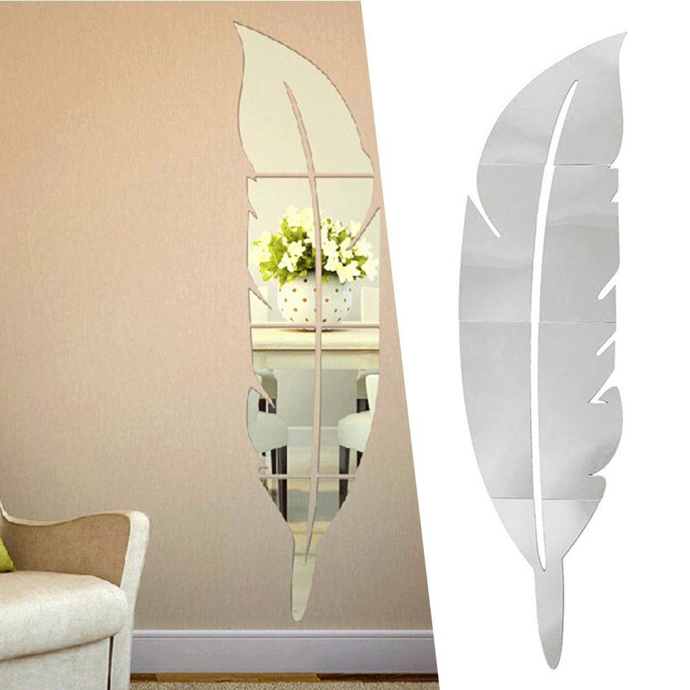 New Arrival High Quality 1Pcs Mirror Wall Stickers 3D Decal Home Room Decoration DIY For Living Room Porch Feather Style