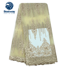 Bestway African Tulle Fabric Lace Net Embroidered Beaded and Stones Gold Color French Bridal Nigerian