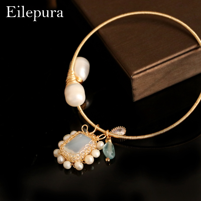 Eilepura Handmade Original Design Natural Fresh Water Pearl Natural Stone Adjustable Bracelet For Women Wedding Jewelry B A004