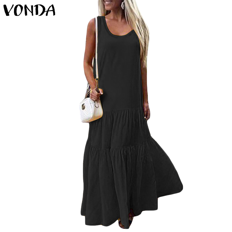 VONDA Women Dress 2019 Summer Beach V-Neck Sleeveless Maxi Long Party Dresses Casual Loose Sexy Big Swing Plus Size Vestidos