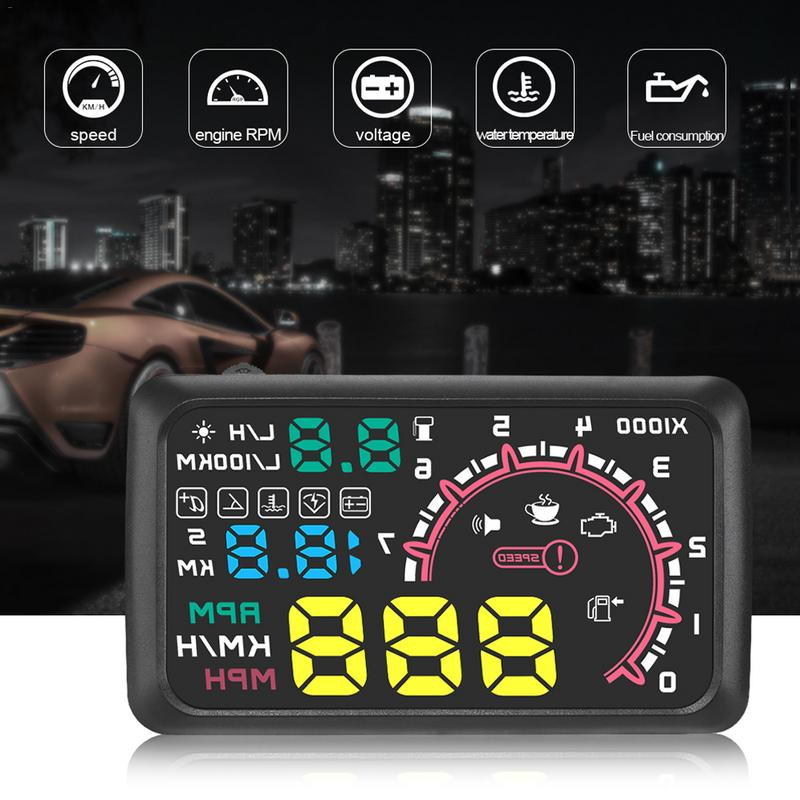5.5 inch Car head-up display OBD2 Overspeed windshield projector Warning System Auto Electronic Voltage Alarm