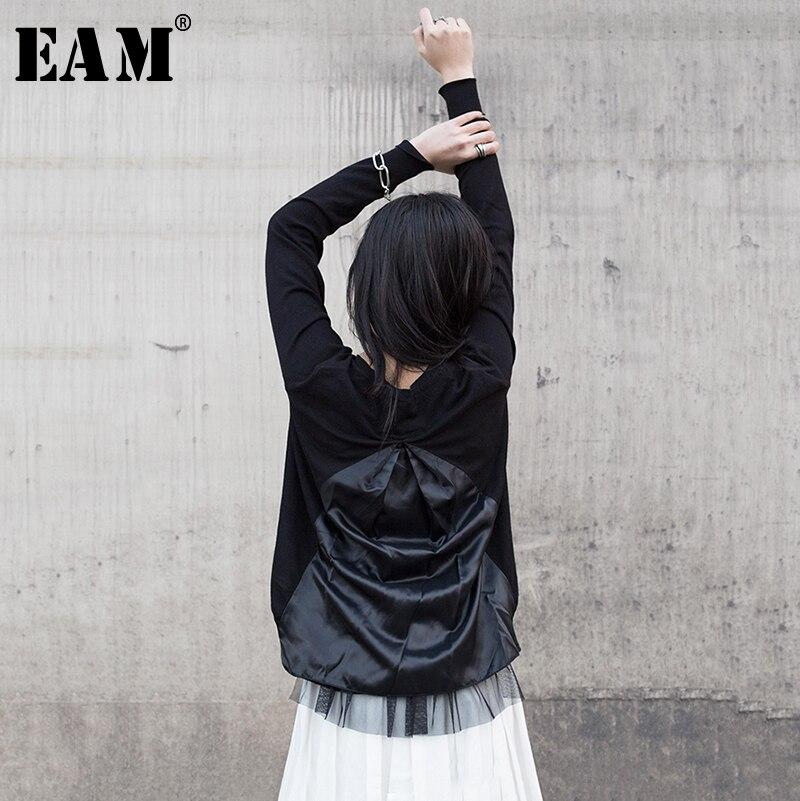 EAM 2019 New Spring Summer V collar Long Sleeve Black Back Fold Irregular Stitch Loose