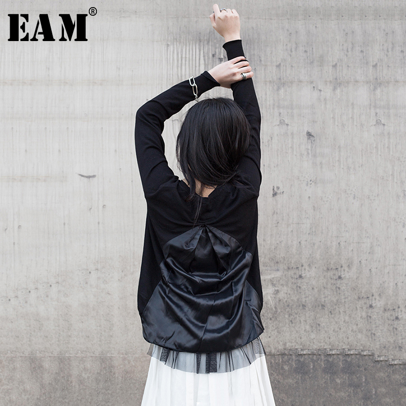 [EAM] 2019 New Autumn Winter V collar Long Sleeve Black Back Fold Irregular Stitch Loose Jacket Women Coat Fashion Tide JR385-in Jackets from Women's Clothing    1