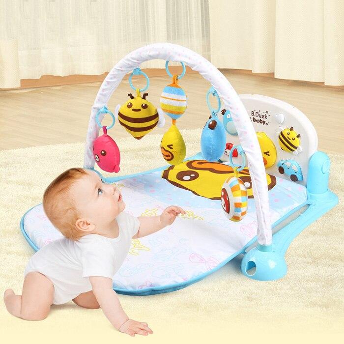Multifonction doux bébé jouer tapis activité bébé pédale support de musique musique lit cloche jouer Gym jouet plancher ramper couverture tapis