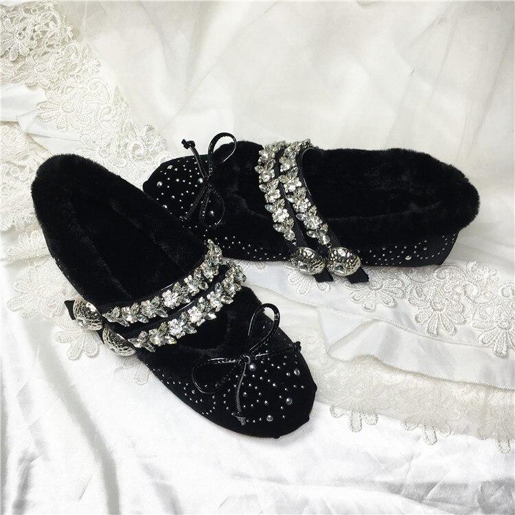 Chaussures Makasins De Pour as Ballerines Cristal Chaude Femmes Velours Pic Wa As Pic Ballet Femme Slipona Printemps Femelle Hiver Automne D'été fdwxxgqCX
