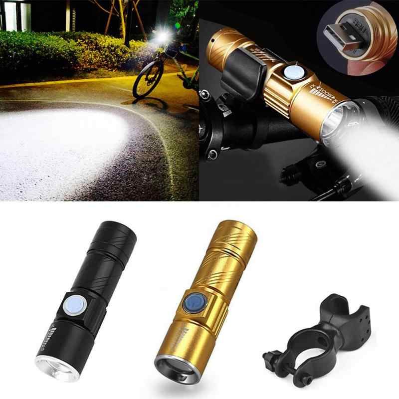 Good Usb Chargeable Super Bright Lustre Flashlight Waterproof Bike Lamp Torch Bicycle Bracket Clip Houlder Lanterna Portable Lighting