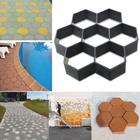Black Garden Walk Maker Mould Hexagon Driveway Paving Pavement Mold Mould Patio Concrete Stepping Stone Path Walk Maker DIY #4
