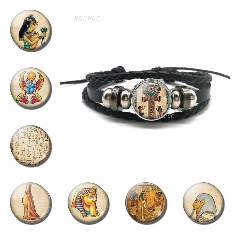 Bracelet égyptien Bracelet croisé Vintage egypte antique Anubis scarabée déesse noir Bracelet en cuir multicouche pour hommes femmes