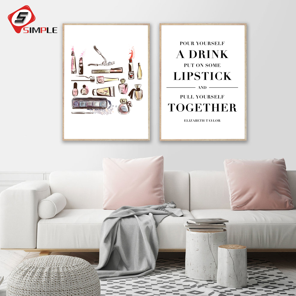 US $16.16 16% OFFMakeup Quote Canvas Art Prints Lipsticks Perfume Posters  Canvas Painting Calligraphy Wall Pictures Dressing Room Lady Art