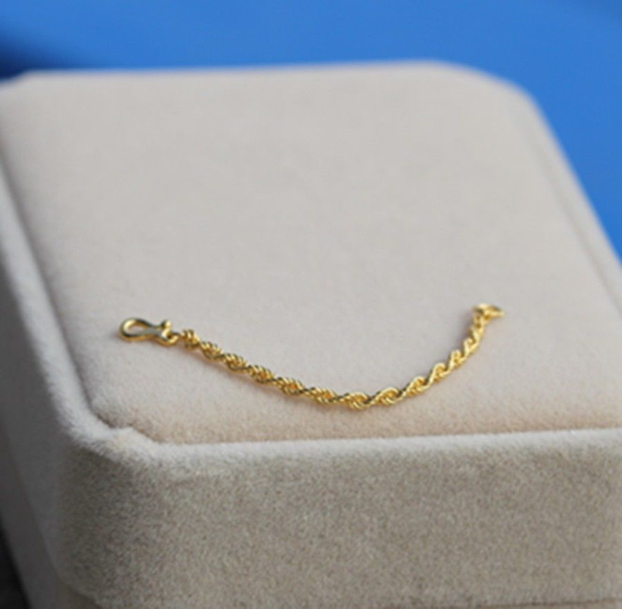 NEW 24K Yellow Gold Extended Rope Link Chain / 5cm LengthNEW 24K Yellow Gold Extended Rope Link Chain / 5cm Length