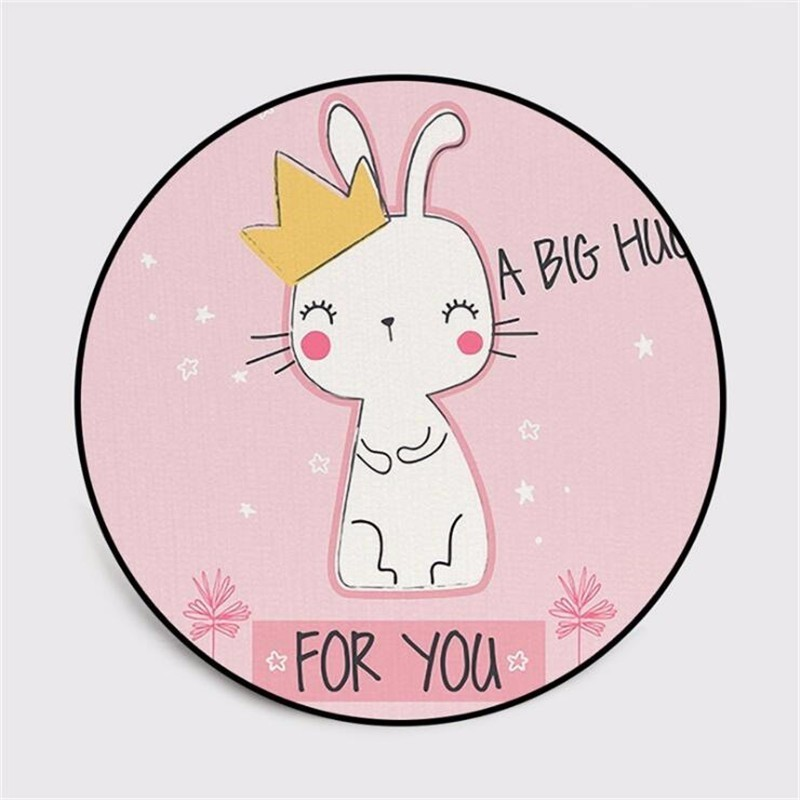 Cute Cartoon Rabbit Bunny Round Carpet Soft Carpets for Living Room Anti-slip Rug Chair Floor Mat for Home Decor Kids Room Gift