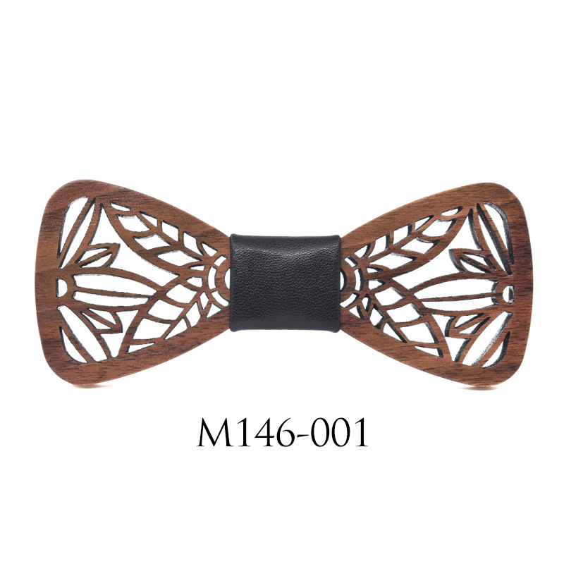 2019 New Classic Openwork Carved Handmade Wooden Decorative Bow Tie Fashion Casual Wedding Accessories Solid Wood Wooden Bow Tie