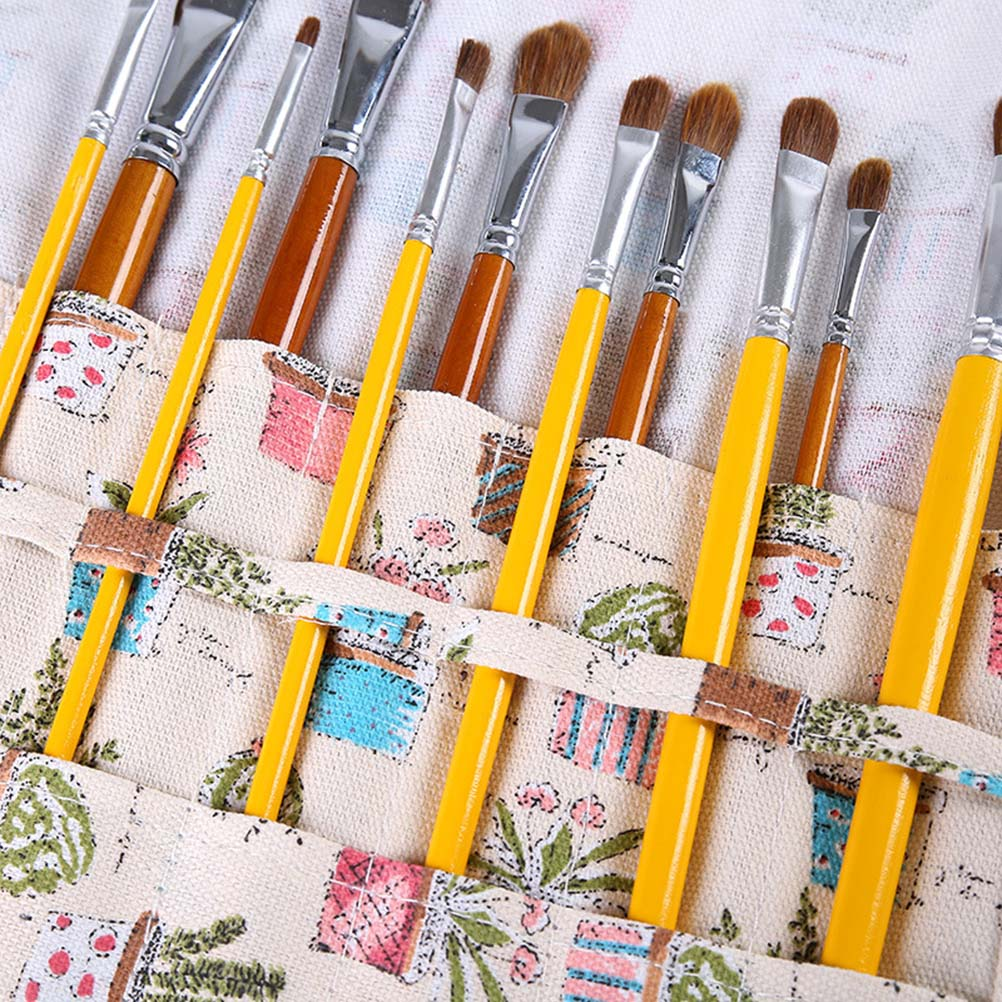 1Pc 22 Slots Paint Brush Holder Durable Canvas Brush Rollup for Pencils Pens
