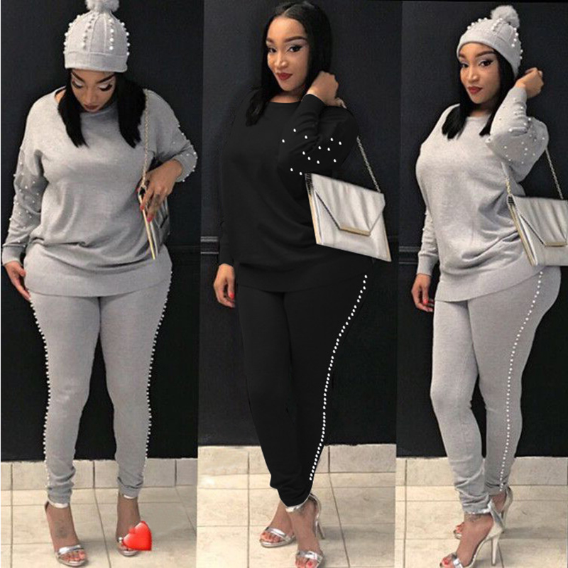 Women TWO PIECE SET Pearl Tracksuit Beading Top Pullover Pants Long Sleeve Outwear 2 Piece Ladies Suits Sweatshirt Spring Autumn