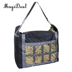 MagiDeal медленная кормовая сетка для сена сумка с регулируемым ремнем для переноски лошадей