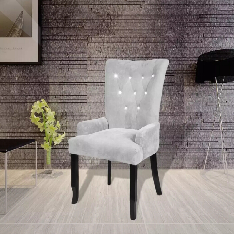 VidaXL Dining Chair With Black Wooden Frames Velvet-Silver Upholstery Armchair Elegant And Timeless Ergonomic Chair Dining ChairVidaXL Dining Chair With Black Wooden Frames Velvet-Silver Upholstery Armchair Elegant And Timeless Ergonomic Chair Dining Chair