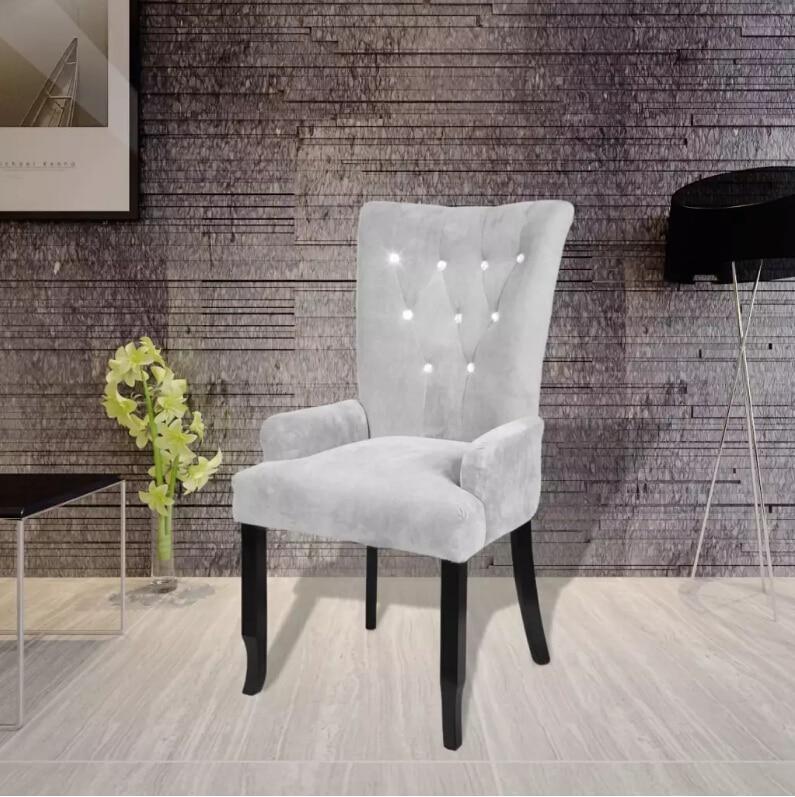 VidaXL chaise de salle à manger avec cadres en bois noir velours-argent fauteuil d'ameublement élégant et intemporel chaise ergonomique chaise de salle à manger