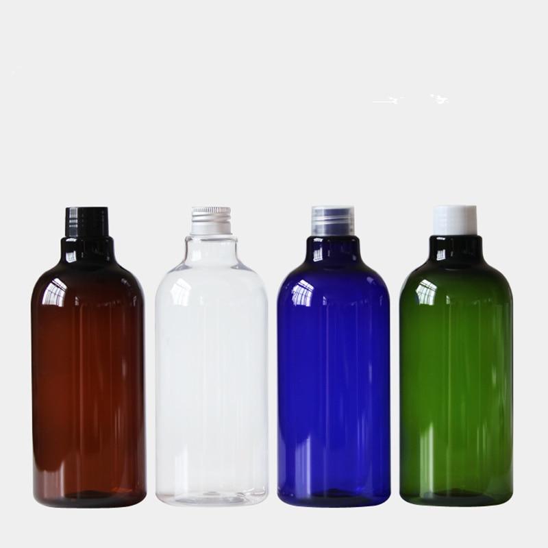 30pcs 500ml Cobalt Blue Boston Round cosmetic bottles wholesale luxury PET packaging for Lotions Liquid Soap