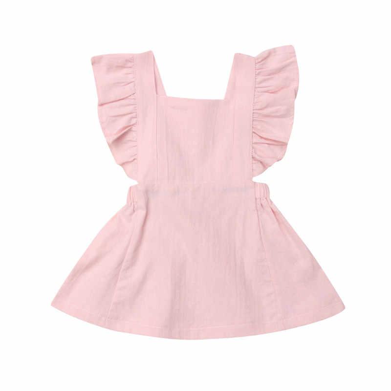 Bambino del bambino Dei Bambini Del Bambino Della Ragazza di Colore Solido Dell'increspatura Della Principessa Del Partito Del Vestito Vestito Estivo Estate Verde rosa Giallo