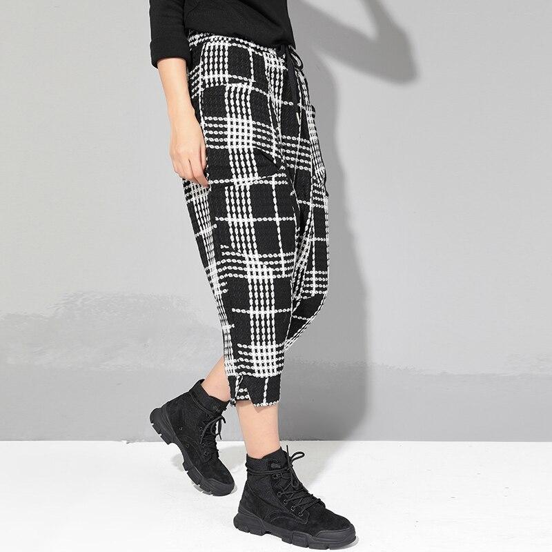 Diseño Pantalones Bolsillos De Capri Forro Con Mujer Nueva Cuadros Tamaño Harem A Cordón Cintura Plus 2019 Streetwear Estilo Malla Primavera qxURE
