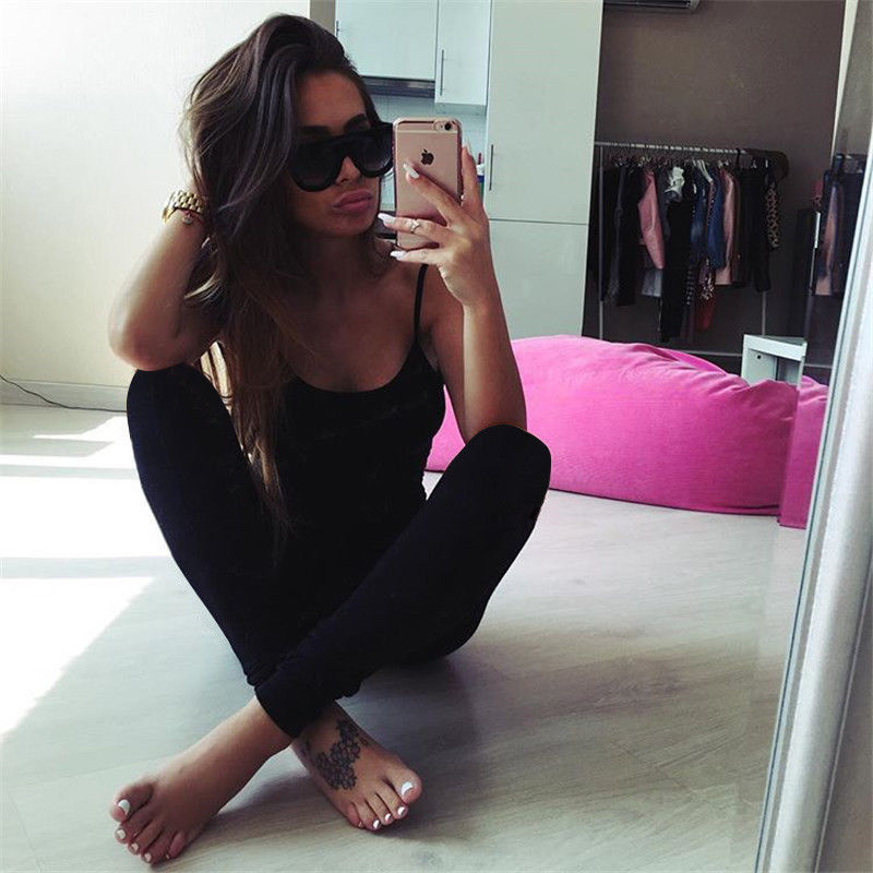 2018 Brand Women Sexy Spaghetti Strap Jumpsuit Romper One Piece Black Gray Green Backless Bodycon Bodysuit