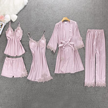 5 Pieces Satin Silk Home Suit Wear 2019 Summer Sleepwear Pijama Embroidery Women Pajamas Sleep Lounge Pyjama with Chest Pads(China)