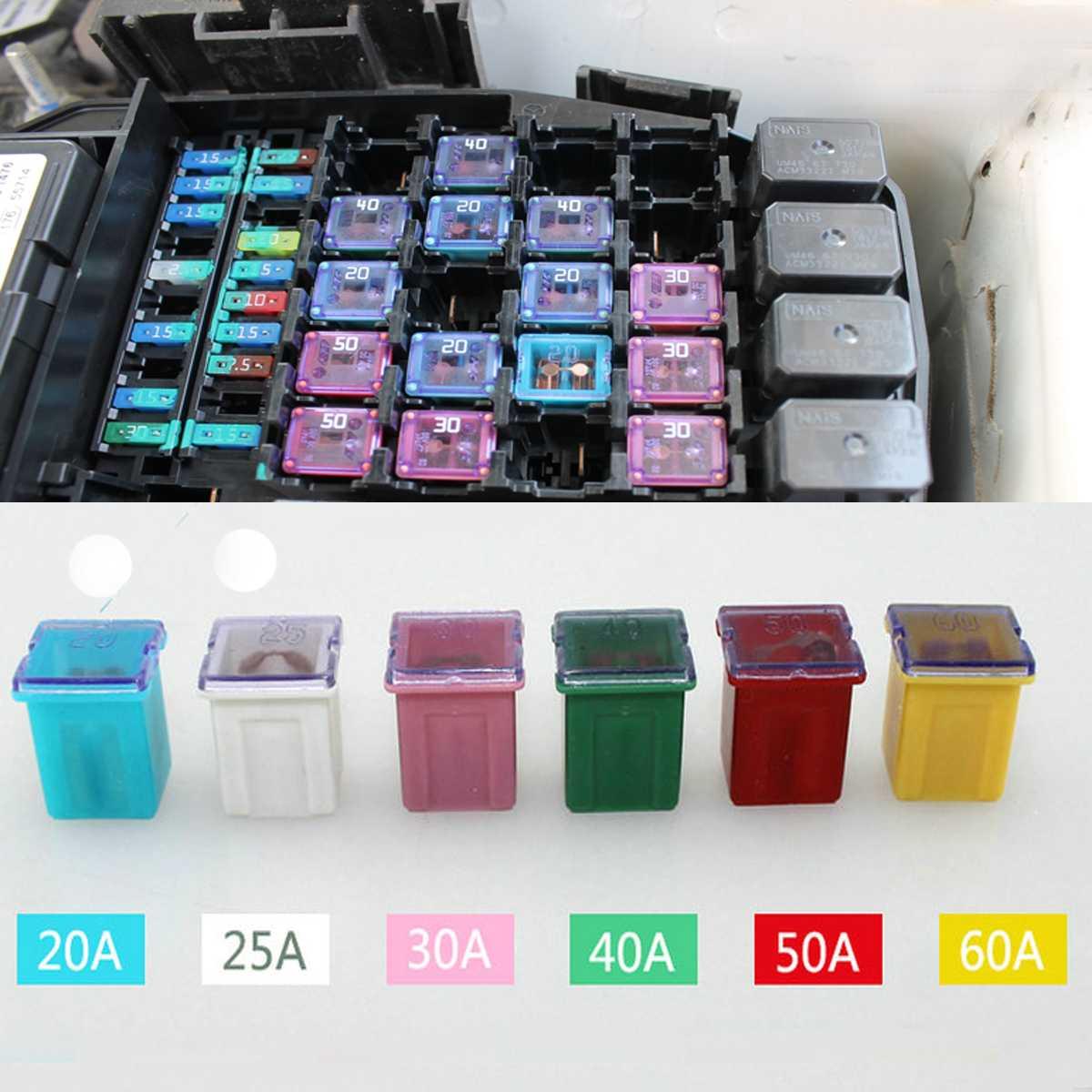 60Pcs Square Insert Car Fuse Box Japanese Auto Fuse 20/25/30 ... on