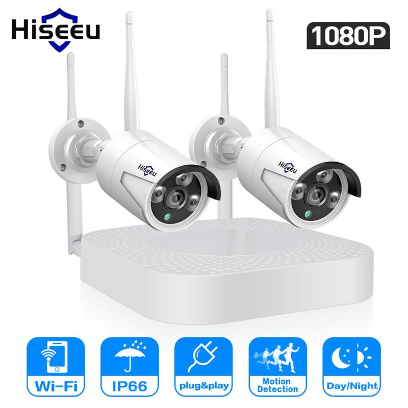 Hiseeu 4 Channel 1080p NVR Kit Wireless CCTV Security System 2pcs 2MP WIFI IP Cameras Outdoor